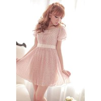 Sweet Floral Chiffon Dress Pink - Designer Shoes|Bqueenshoes.com