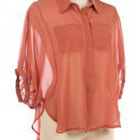 DOORMAN SLEEVES CHIC CHIFFON SHIRT @ KiwiLook fashion