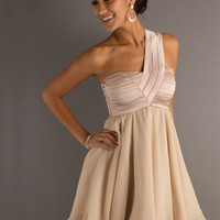 Buy Amazing A-line Champagne One-shoulder Empire Waist Chiffon Mini Homecoming Dress  with 102.99-SinoAnt.com