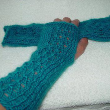 Gloves Fingerless WristWarmers Arm Warmers Mitts Wool Teal REDUCED