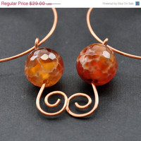 CIJ Bohemian Beaded Hoops, Agate Gemstones Copper Hoop Earrings, Multicolor Gemstone Earring, Mixed Metal Handmade Wire Jewelry