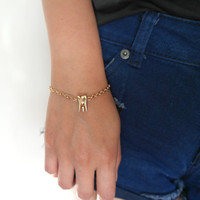 Delicate chic tooth gold bracelet