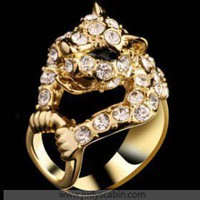 IDee Gold Diamond Howling Leopard Cocktail Ring - Cocktail Ring - Rings
