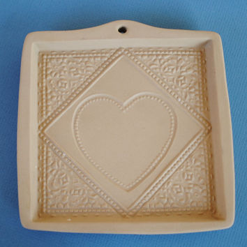 Vintage Brown Bag Cookie Mold - Square with heart