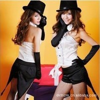 Party Magician Assistant Costumes lzq, Black white S M, very cheap sexy lingerie, cheap sexy costume, cheap halloween costume - Circus Costumes HotSaleWear.Com