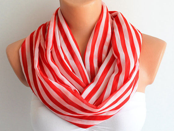 Red and White Striped Loop Infinity Satin Scarf Soft and Lightweight