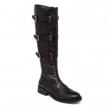Vince Camuto Fenton Buckle Motorcycle Knee High Boot in Black