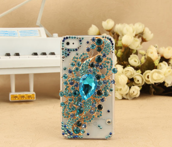 FREE SHIPPING Apple iPhone 4S 4G Artificial Swarovski Rhinestone Bling Blue Floral Charm Crystals Clear Transparent Back Case