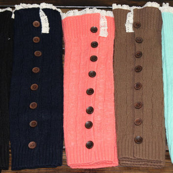 SALE! Slight Imperfection: Button Boot socks Lace trim legwarmers Knit boot toppers with buttons