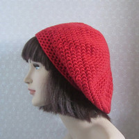CIJ 15% Off - Red Orange Slouchy Crochet Hat - Womens Slouch Beret - Oversized Tam - christmasinjuly Christmas in July