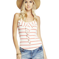 STRIPED RUFFLE T-BACK TANK