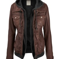 Lock and Love Women's 2-For-One Hooded Faux leather Jacket