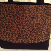 SALE--Classic Large Tote Bag-Book Bag-Diaper Bag-Purse-Microsuede Leopard Print