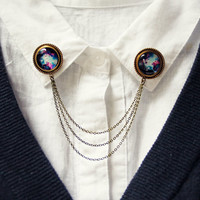 galaxy collar pins, collar chain, collar brooch, lapel pin, galaxy pin, galaxy brooch