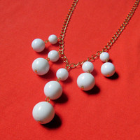 White Round Statement Necklace- Vintage White Beads