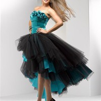 Knee length strapless tulle black hunter prom dresses PDM4092