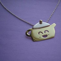 Teapington the Teapot Necklace Handmade by Metal Sugar - Adorable Blend of Sterling Silver &amp; Brass - Whimsical &amp; Unique Gift Ideas for the Coolest Gift Givers