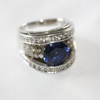 Sterling Ring Sapphire Cocktail Vintage 1980s CZ Jewelry