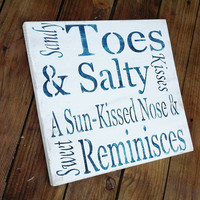 Beach Wedding Signs, Beach House Decor &quot;Sandy Toes &amp; Salty Kisses, a Sun-kissed Nose and Sweet Reminisces&quot; typography word art