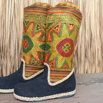 Vegan Womens Cowboy Boots In Colorful Ethnic Laos Embroidery 7.5
