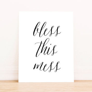 Bless This Mess Printable Art Office Art Typography Poster Dorm Decor Apartment Decor Poster
