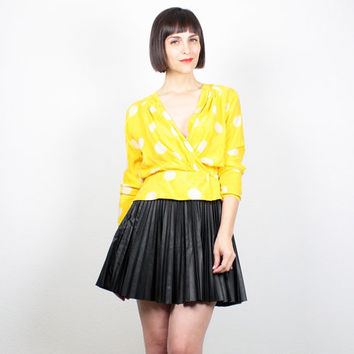 Vintage Bright Yellow Blouse White Polka Dot Print Deep Plunging V Neck Peplum Shirt Long Sleeve Silk Top 1980s 80s Adrianna Papell S Small