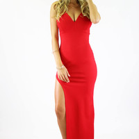 Slip Away Maxi Dress - Red @ LushFox.com :: Current Fashion Trends & Styles