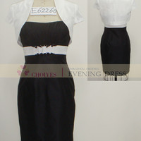 Freeshipping E62260 Ivory black Taffeta tea length mother of the bride jacket dresses modest, View mother of the bride jacket dresses modest, Choiyes Wedding Dress Product Details from Chaozhou Choiyes Evening Dress Co., Ltd. on Alibaba.com