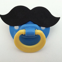 MUSTACHE PACIFIER (blue & yellow)