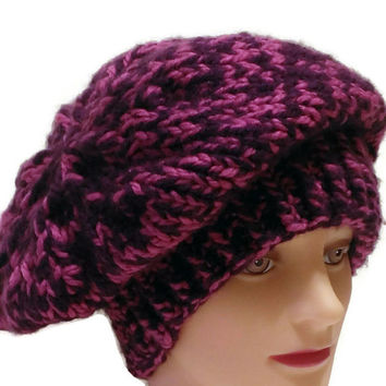 Handmade Pink and Purple Warm Winter Hat, Pink and Purple Snow Hat, Pink and Purple French Beret, Pink and Purple Slouchy Hat