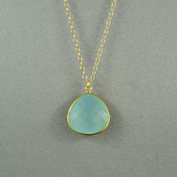Beautiful Chalcedony Heart Necklace, Aqua Blue, 24K Gold Vermeil Bezel, 14K Gold Filled Chain, Wonderful Jewelry