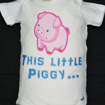 "Baby Onsie, Toddler  Tee, Free Shipping,  ""Little Piggy"", White, Baby, Toddler, Graphic Design, Baby Shower, Baby Gift, Unisex, Pink Pig"