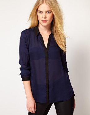 Mango Blouse With Contrast Placket at asos.com