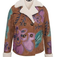 BURBERRY PRORSUM | Hand-Painted Cropped Sheepskin Jacket | Browns fashion & designer clothes & clothing