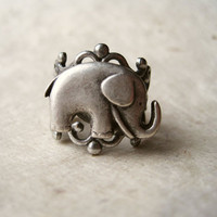 Elephant Ring, Adjustable Antique Silver Filigree Ring with Silver Elephant, Statement Ring, Adjustable Ring.
