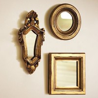 Mini Gilded Gold Mirrors, Set of 3