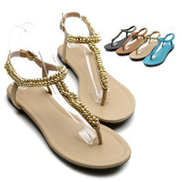 NEW Womens Shoes Beaded Thong Multi Colored Flat Sandals