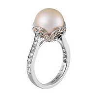 Les Elegantes Ring, Brown &amp; White Diamonds, Pink Pearl - Lou... - Polyvore