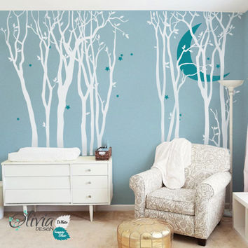 10 Large Forest Trees Vinyl Decal