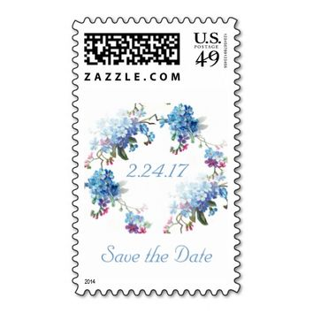Save the Date Vintage Blue Wreath Floral Stamp