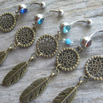 Pick One Dreamcatcher Belly Ring, BRONZE Feather Belly Button Ring, Birthstone Piercing, Native American Body Jewelry, Southwestern