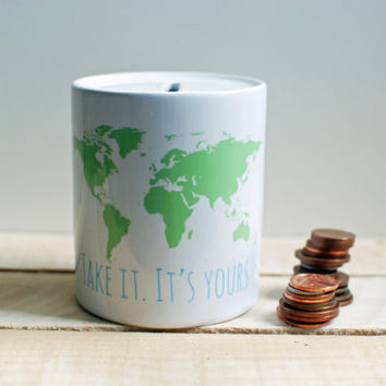 World map ceramic money box pre order in white with green world map print ,blue typography, Take it, it's yours. Sorry you're leaving gift.