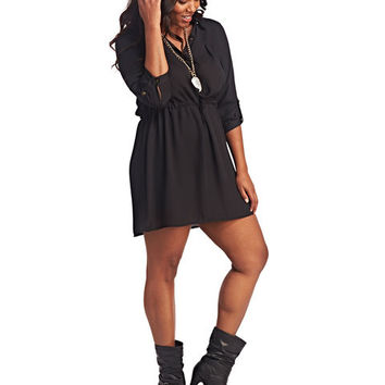 3/4 Sleeve Shirt Dress | Wet Seal+