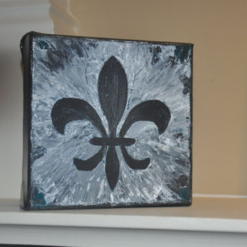 Fleur de Lis Acrylic Painting on Canvas - 5x5 Original