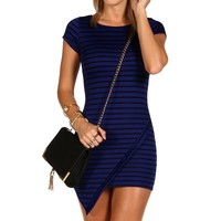 Royal Striped Asymmetrical Tunic