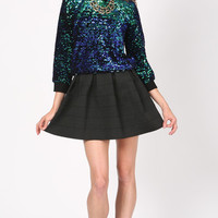 IRIDESCENT CHANDELIER SEQUIN LONG SLEEVE TOP
