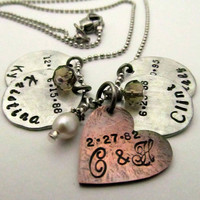 Personalized Hand Stamped Mom Necklace - Mixed Metal Cluster Necklace - Hand Stamped Jewelry Mom Necklace Mixed Metal Layered Rustic