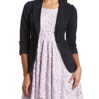 Navy Button Back Blazer