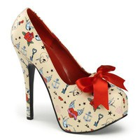 Pinup Couture TEEZE-12-3 Tattoo Print Platform Pumps - Pinup Couture Shoes