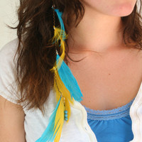 Beautiful Blue and Neon Yellow Feather Hair Clip by HaleyLouise